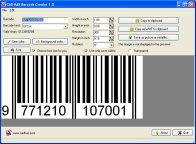 A screenshot of the program Barcode Creator 1.2